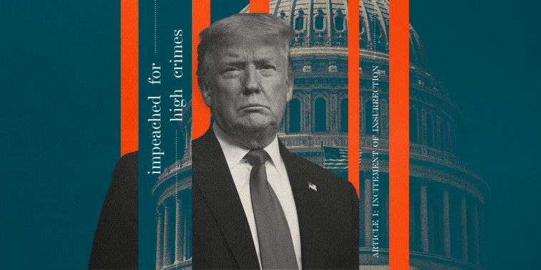 """Image: Illustration shows former President Donald Trump between teal and red strips that show the Capitol and words like \""""impeached\"""" \""""high crimes\"""" and insurrection."""