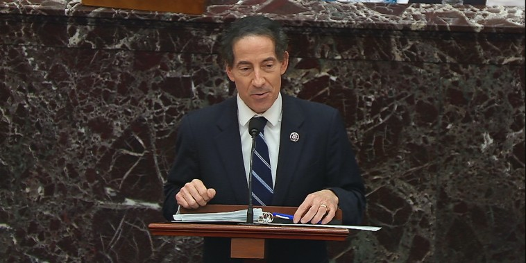House impeachment manager Rep. Jamie Raskin, D-Md., speaks during closing arguments in the impeachment trial of former President Donald Trump on Feb. 13, 2021.