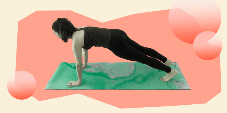 Illustration of woman doing a plank on a yellow background