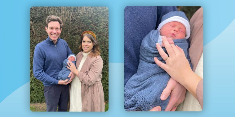 Britain's Princess Eugenie and Jack Brooksbank pose with their son, August Philip Hawke Brooksbank, in this undated handout photo issued by Buckingham Palace on February 20, 2021. The boy was born at The Portland Hospital in central London, Britain on February 9, 2021.
