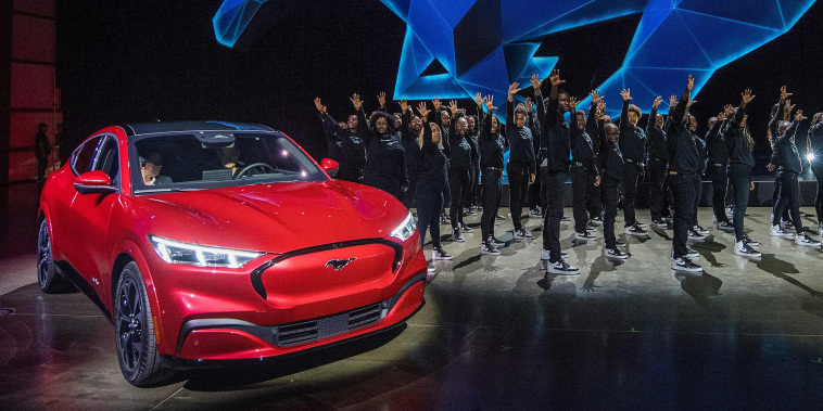 Image: Ford's first mass-market electric car the Mustang Mach-E, revealed at a ceremony in Hawthorne, Calif.