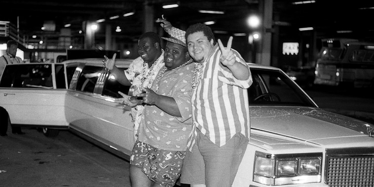 Kool Rock Ski, Buffy and Prince Markie Dee from The Fat Boys poses for photos outside Billy Goat Tavern in Chicago in June 1987.