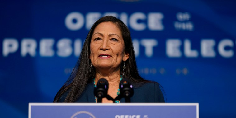Image: The Biden administration's nominee for Secretary of Interior, Rep. Deb Haaland, D-N.M., speaks at The Queen Theater in Wilmington Del.