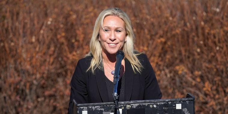 Image: U.S. Representative Marjorie Taylor Greene (R-GA) addresses a news conference on Capitol Hill