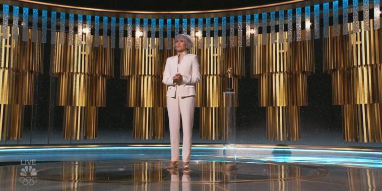 Jane Fonda speaks at the Golden Globes on Feb. 28, 2021.