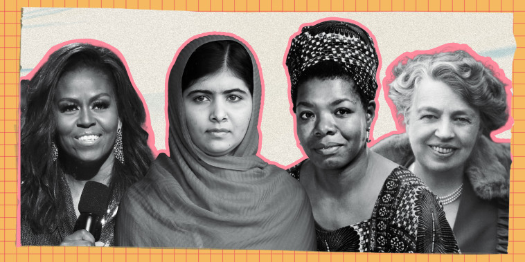 Photo collage of Maya Angelou, Malala Yousafzai, Eleanor Roosevelt, and Michelle Obama.