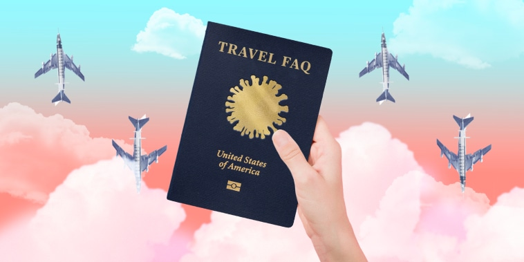 Illustration of passport with covid spore and planes made of syringes