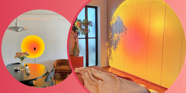 Illustration of the Renewergy Sunset Projector Lamp and Sunset Projector Floor Lamps, Artistic Designer Lamp