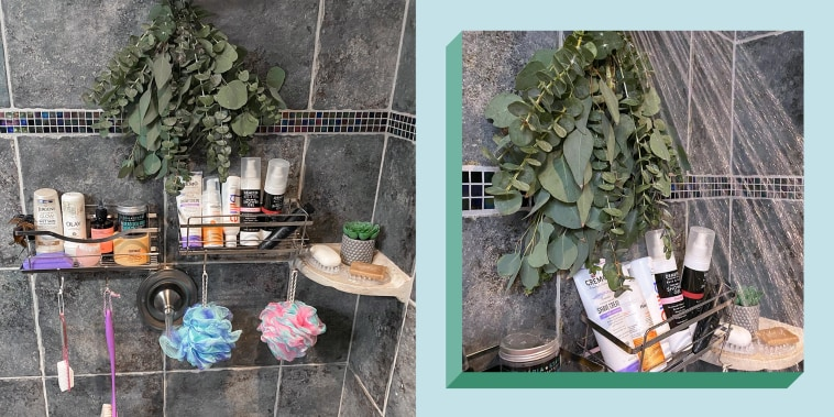 Illustration of the KINCMAX Shower Caddy Bathroom Shelf filled with products and eucalyptus leaves hanging over shower