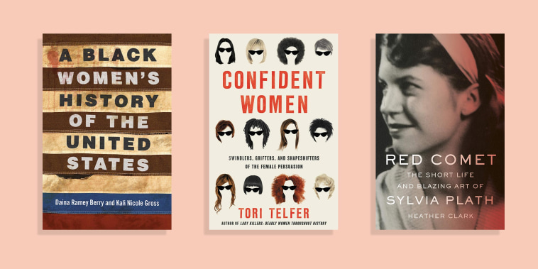 Illustration of 3 Women Biographies, Confident Women by Tori Telfer, A Black Women's History of the United States, and Red Comet by Sylvia Plath