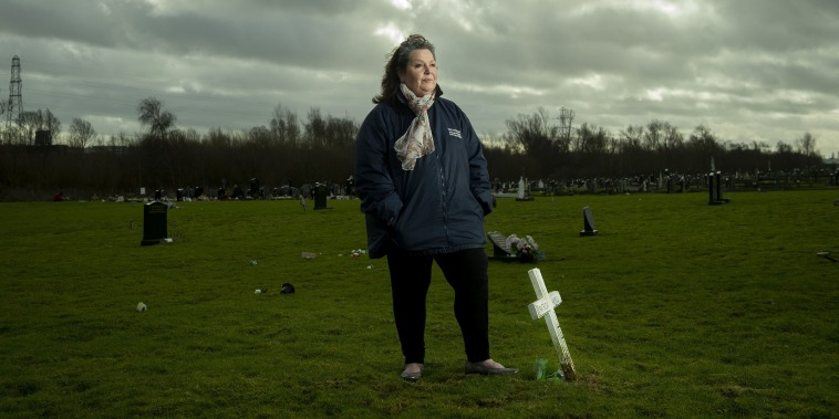 Image: Archaeologist Toni Maguire pictured in the Bog Meadows baby graves area of Milltown cemetery,
