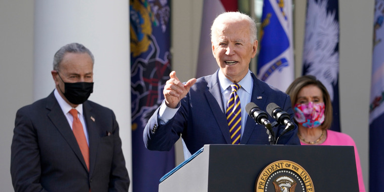President Joe Biden speaks about the American Rescue Plan, a coronavirus relief package, in the Rose Garden of the White House on March 12, 2021.