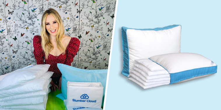 Illustration of Chassie Post sharing products to help with sleep and an image of the Pancake Pillow