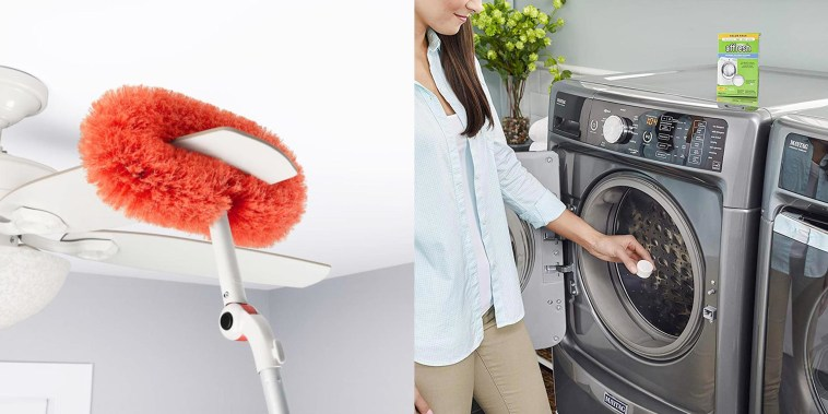 Illustration of the OXO Long Reach Dusting System cleaning a ceiling fan and a woman putting a Affresh Dishwasher and Washing Machine Cleaning Tablets in her laundry machine