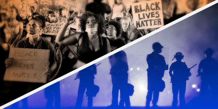 Image: Photo illustration shows a Black Lives Matter protest next to police with batons and shields.