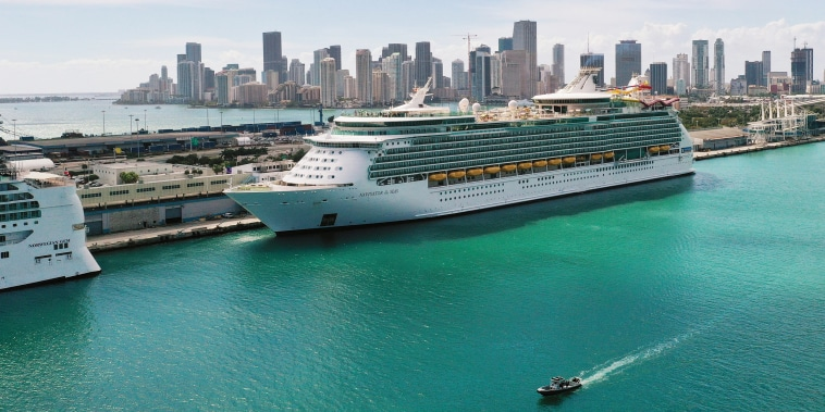 Royal Caribbean's Navigator of the Sea cruise ship is docked at the Port of Miami on March 02, 2021.