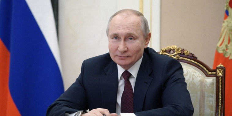 Image: Russian President Vladimir Putin meets with members of the public of Crimea via a video link in Moscow
