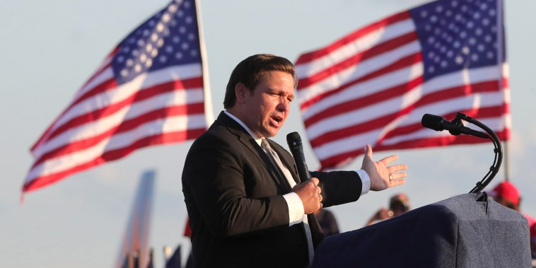 Florida Gov .Ron DeSantis speaks at a Trump campaign rally on Oct. 12, 2020 in Sanford, Fla.