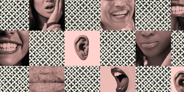 Grid of collaged images of different mouths and ears