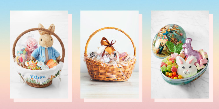 Illustration of pre-made, packaged Easter baskets like the Williams Sonoma Classic Easter Mache Egg, generic basket and Williams Sonoma & Pottery Barn Kids Beatrix Potter Basket