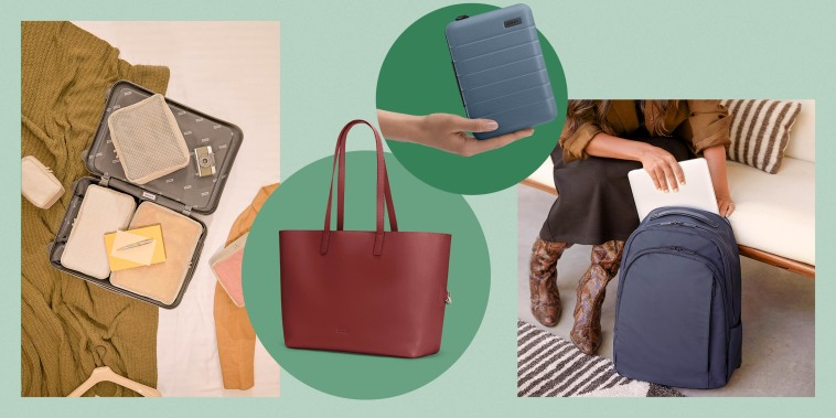 Illustration of a GIF of clothes and packing items moving around an Away suitcase, The Latitude Tote in brown-red, The Travel Wellness Kit in blue and a dark blue Away backpack