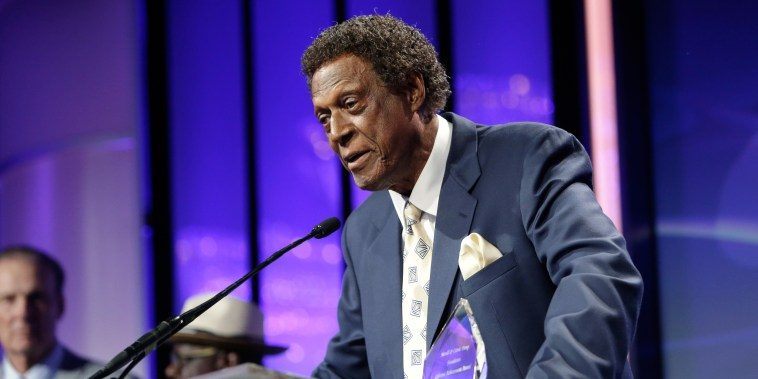 Honoree Elgin Baylor speaks onstage during the 16th Annual Harold and Carole Pump Foundation Gala on Aug. 12, 2016 in Beverly Hills, Calif.