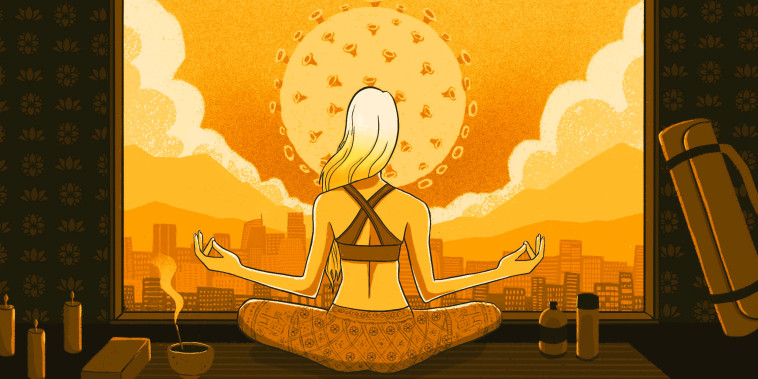 Image: Illustration shows a blonde woman practicing yoga as a sun in the shape of a Covid-19 spore rises.