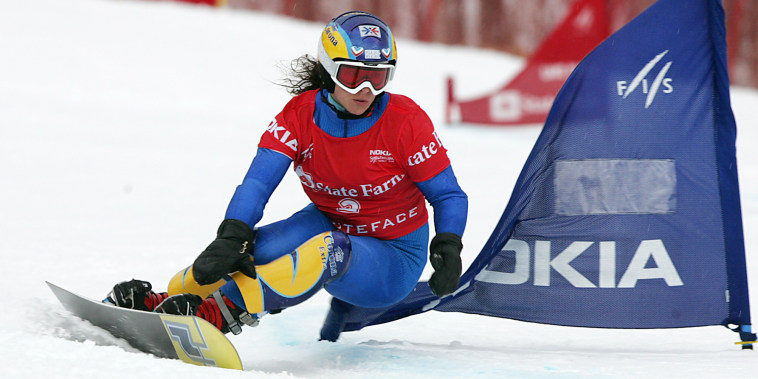Julie Pomagalski competes during the 2006 Winter Olympics in Turin, Italy.