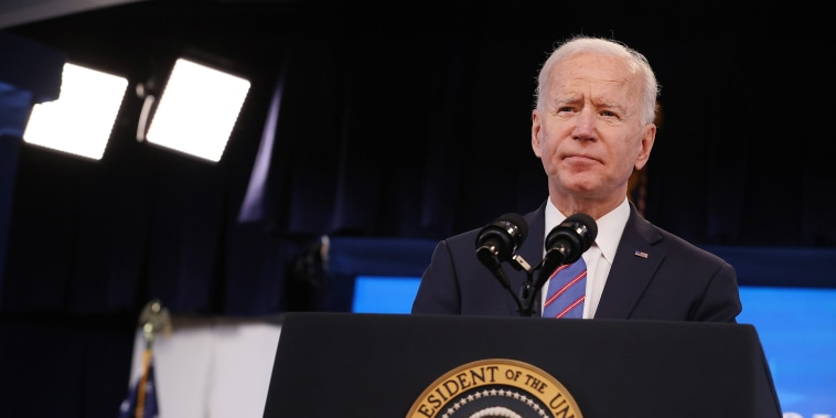 Image: President Joe Biden delivers remarks during an Equal Pay Day event in the South Court Auditorium in the Eisenhower Executive Office Building