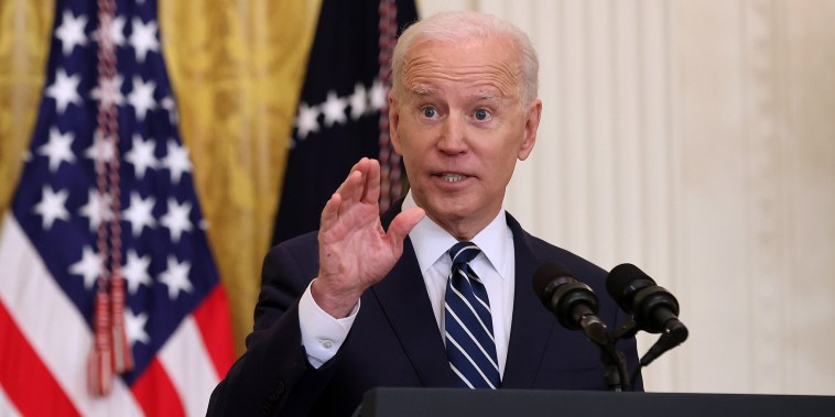Image: Joe Biden Holds First Press Conference As President