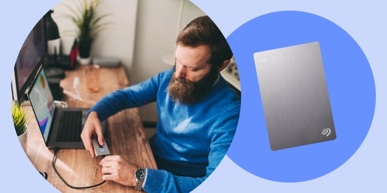 Illustration of a man at his home office plugging in a hard drive to his laptop and a seagate plus slim hard drive in silver. Shop the best hard drives and accessories, according to a Shopping writer.