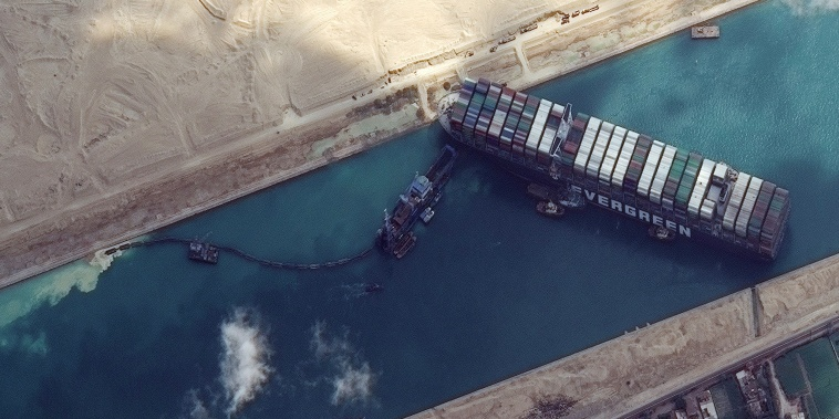Image: The Ever Given container ship stuck in the Suez Canal on March 26, 2021.