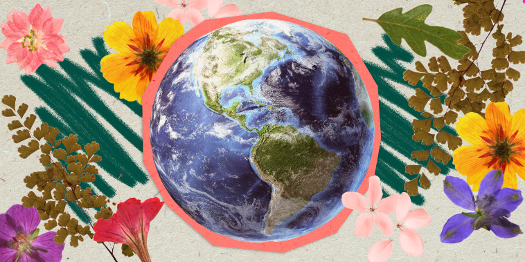 Collage illustration of planet earth with flowers around on craft paper.