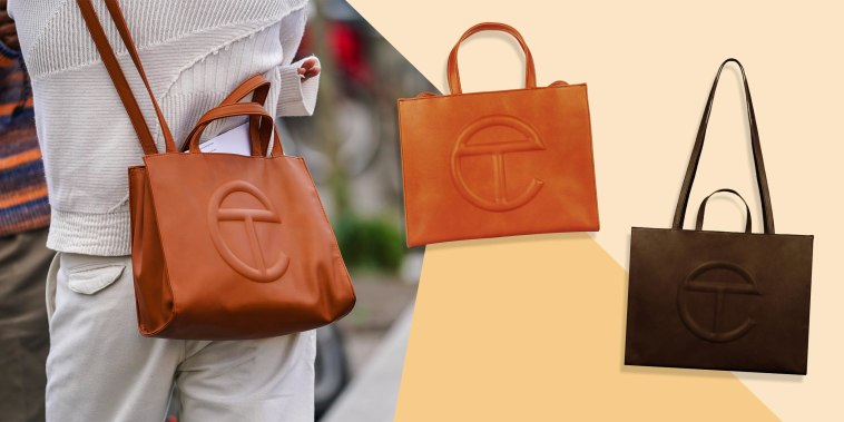 Illustration of a person wearing a crossbody tan-color bag from Telfar and two Telfar bags in Tan and Chocolate
