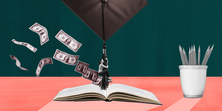 Photo collage of woman hanging off graduation cap onto an open book with money flying around her
