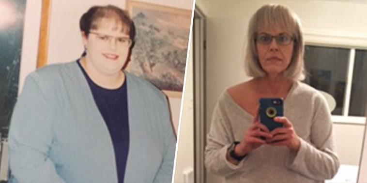 Heidi Olson Jones in her 30s, left, and today.