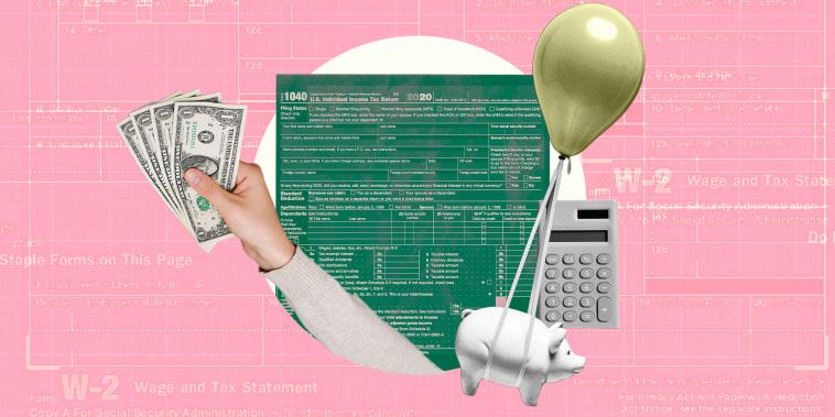 Illustration of form 1040 on pink background with hand holding money
