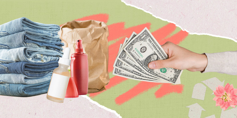 Illustration of recyclable products and hand with money.