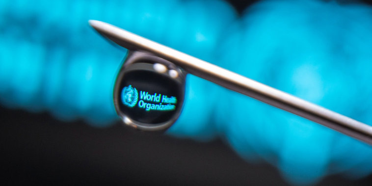 Image: World Health Organization logo is reflected in a drop on a syringe needle,