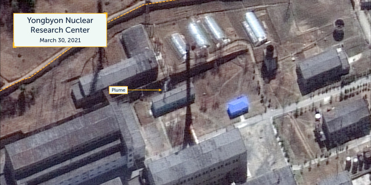 Image: Close-up of the plume of steam or smoke emanating from a small support building in the center of the radiochemistry laboratory in Yongbyon, North Korea