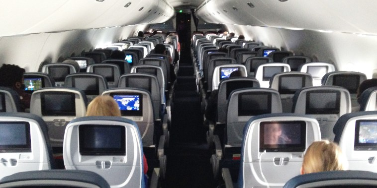 View of the cabin of a Delta flight between Minneapolis and Baltimore on April 25, 2020.