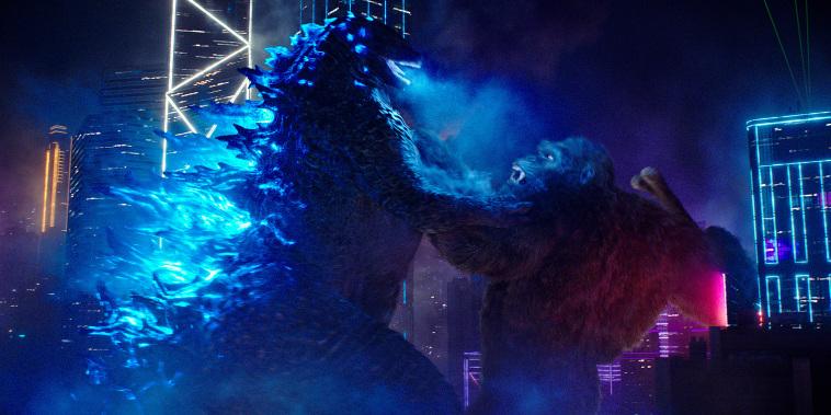 "Godzilla battles Kong in \""Godzilla vs. Kong.\"""