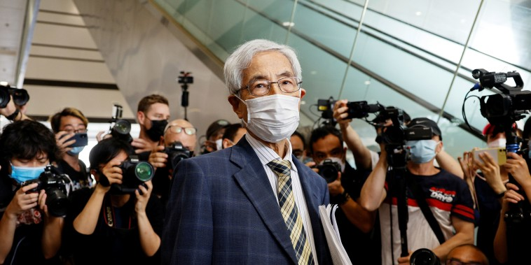 Democratic Party founder Martin Lee leaves the West Kowloon Courts after he was found guilty in landmark unlawful assembly case, in Hong Kong, China April 1, 2021.