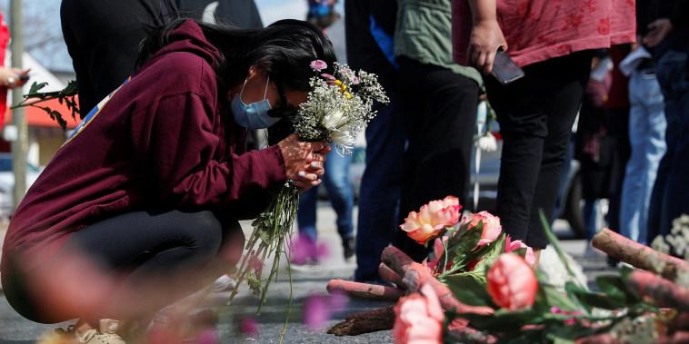 Image: Vigil at a makeshift memorial outside the Gold Spa in Atlanta