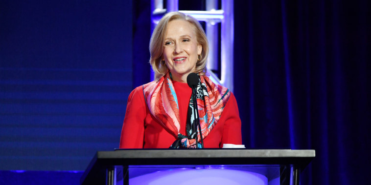 President and CEO of PBS, Paula Kerger speaks during the PBS segment of the 2020 Winter TCA Press Tour on Jan. 10, 2020 in Pasadena, Calif.