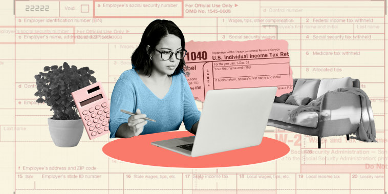 Illustration of young woman on her laptop with tax forms in the background