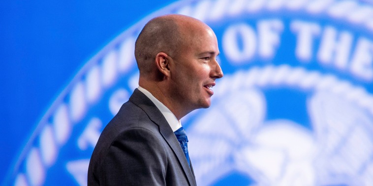 Utah Gov. Spencer Cox speaks during his monthly news conference on March 18, 2021, in Salt Lake City. Cox has signed a law requiring biological fathers to pay half of a woman's out-of-pocket pregnancy costs.
