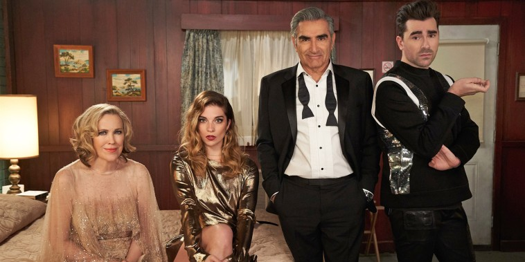 """Moira played by Catherine O'Hara, Alexis played by Annie Murphy, Johnny played by Eugene Levy, and David played by Dan Levy in the final season of \""""Schitt's Creek.\"""""""