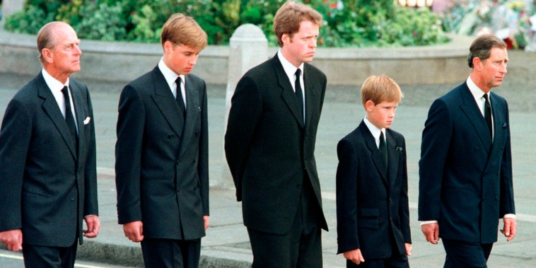 Britain's Prince Philip, Prince William, Earl Spencer, Prince Harry and Prince Charles