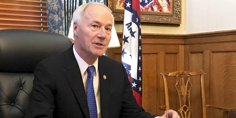 Arkansas Gov. Asa Hutchinson speaks in his office in Little Rock on April 10, 2019.